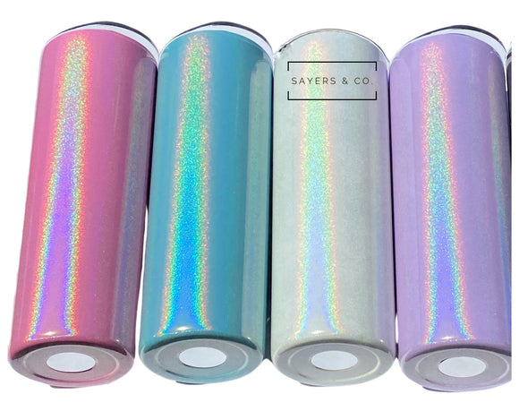 20 oz Skinny Glitter SUBLIMATION Blank Stainless Steel Tumbler Water Bottle with straws, white, pink, aqua, purple wholesale