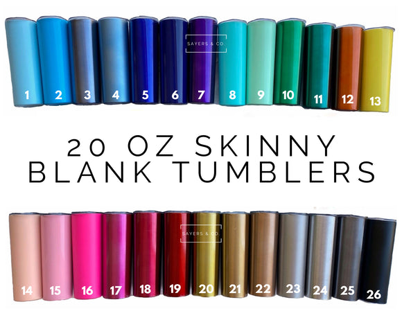 20 oz Skinny Blank Solid Colors Stainless Steel Tumbler DrinkWare Water Bottle wholesale