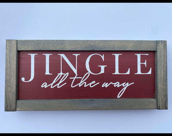 "Jingle all the way Christmas 11.5"" x 5"" Mini Wood Sign"