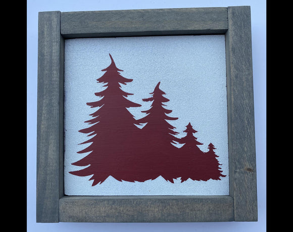 "Christmas Tree 7""x7"" Mini Wood Sign"