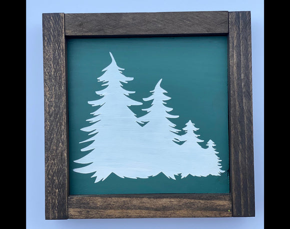 "Christmas Trees 7""x7"" Mini Wood Sign"