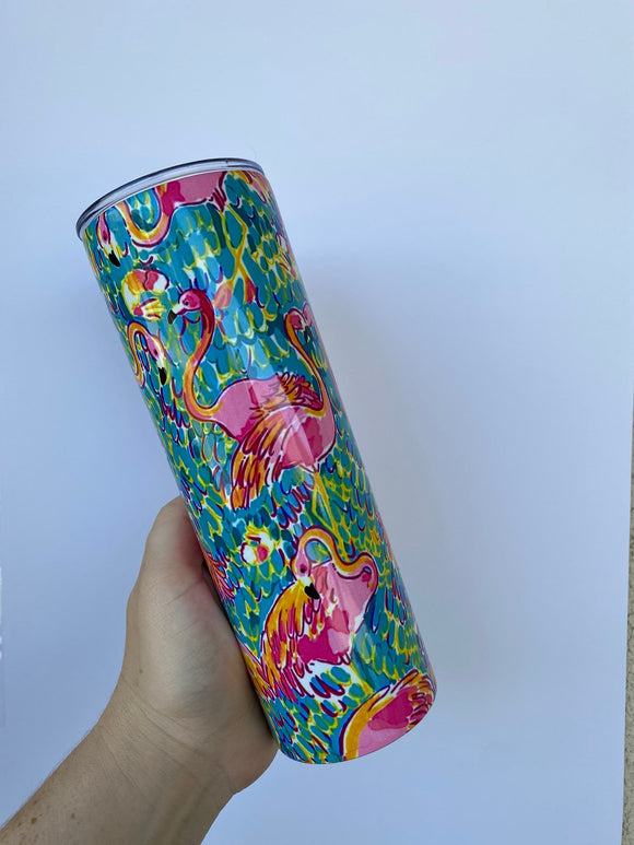 20 oz Skinny Blank Flamingo Stainless Steel Tumbler DrinkWare Water Bottle wholesale