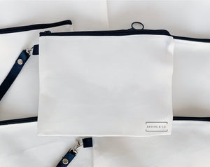 Sublimation Blank White Linen Bags with Black Faux Leather Handle Zipper Pouch