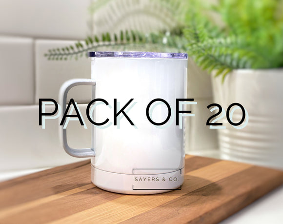 Bulk Pack of 20- 12 oz White Camping Mug SUBLIMATION Blank Stainless Steel Coffee Wholesale