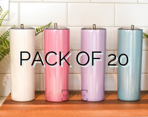BULK Pack of 20-  20 oz Skinny Glitter SUBLIMATION Blank Stainless Steel Tumbler