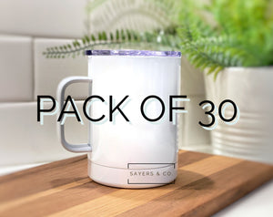 Bulk Pack of 30- 12 oz White Camping Mug SUBLIMATION Blank Stainless Steel Coffee Wholesale