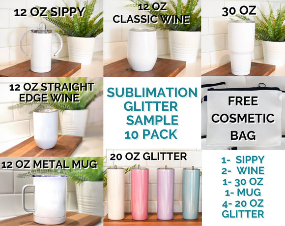 SAMPLE Sublimation Pack Blank Stainless Steel Tumbler Water Bottle wine coffee mug wholesale 20 oz 30 oz 12oz Sippy