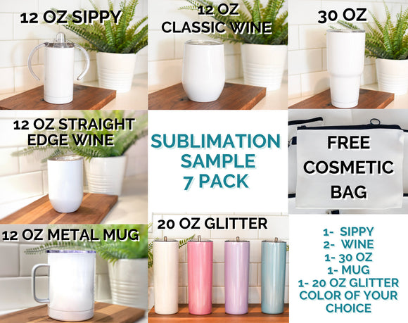 SAMPLE 7 piece Sublimation Pack Blank Stainless Steel Tumbler Water Bottle wine coffee mug wholesale 20 oz 30 oz 12oz Sippy