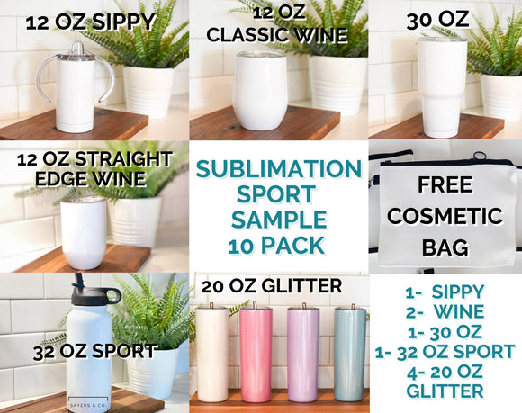 SAMPLE Sport Sublimation Pack Blank Stainless Steel Tumbler Water Bottle wine 32oz  wholesale 20 oz 30 oz 12oz Sippy