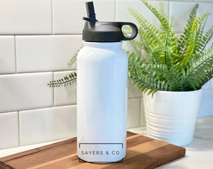 32 oz White SUBLIMATION Sport Bottle Stainless Steel