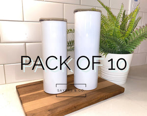 10 PACK- 20oz or 30oz Skinny STRAIGHT White Sublimation NON Tapered Blank Stainless Steel Tumbler Water Bottle wholesale 20 oz 30 oz