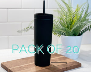 BULK- 20 Pack 19oz Acrylic Skinny Matte Black blank Cold Cup Tumbler with black straw, wholesale