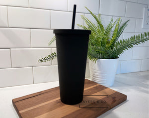 22oz Acrylic Matte Black blank Cold Cup Tumbler with black straw, wholesale