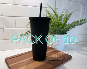 BULK- 10 Pack 22oz Acrylic Skinny Matte Black blank Cold Cup Tumbler with black straw, wholesale