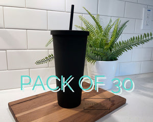 BULK- 30 Pack 22oz Acrylic Skinny Matte Black blank Cold Cup Tumbler with black straw, wholesale