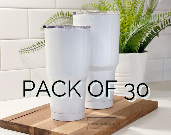 30 PACK- 20oz or 30oz Car White Sublimation Blanks Tumbler Wholesale Blank