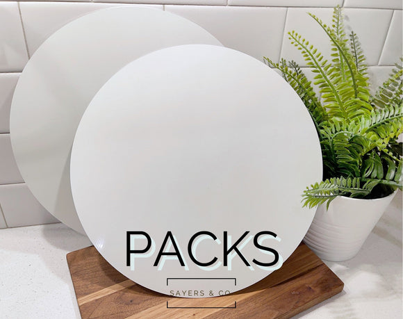 "BULK Packs of 11.75"" Round Circle White Sublimation Sign Blanks"