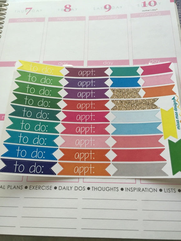 33 to do & appointment banner stickers (#13b)