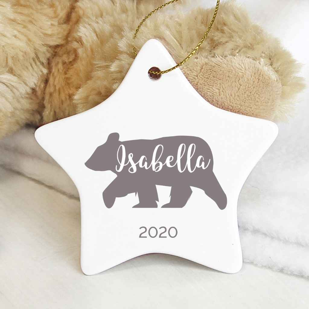 Personalised Polar Bear Ceramic Star Decoration