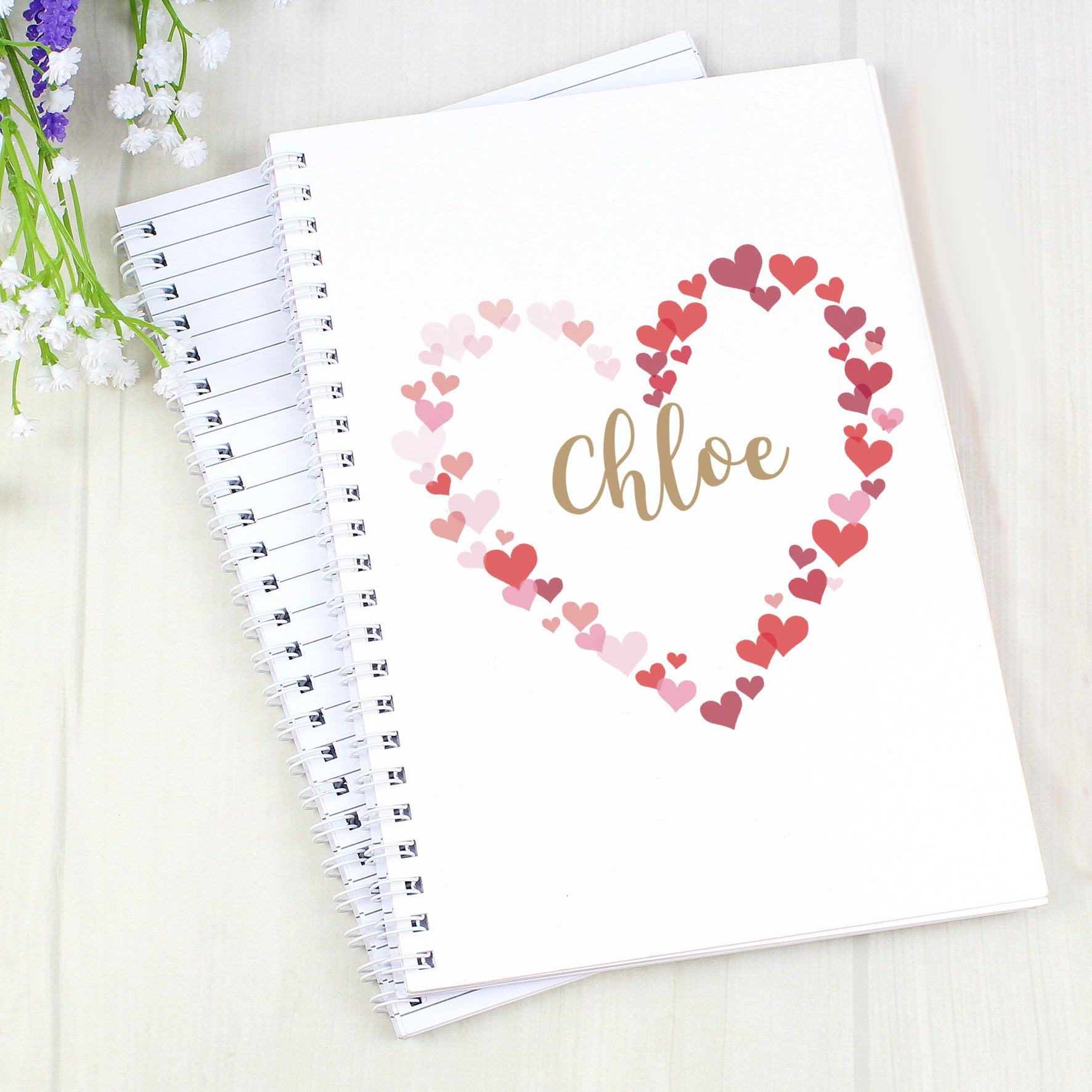 RoyalDrip Gifts - Personalised Confetti Hearts A5 Notebook