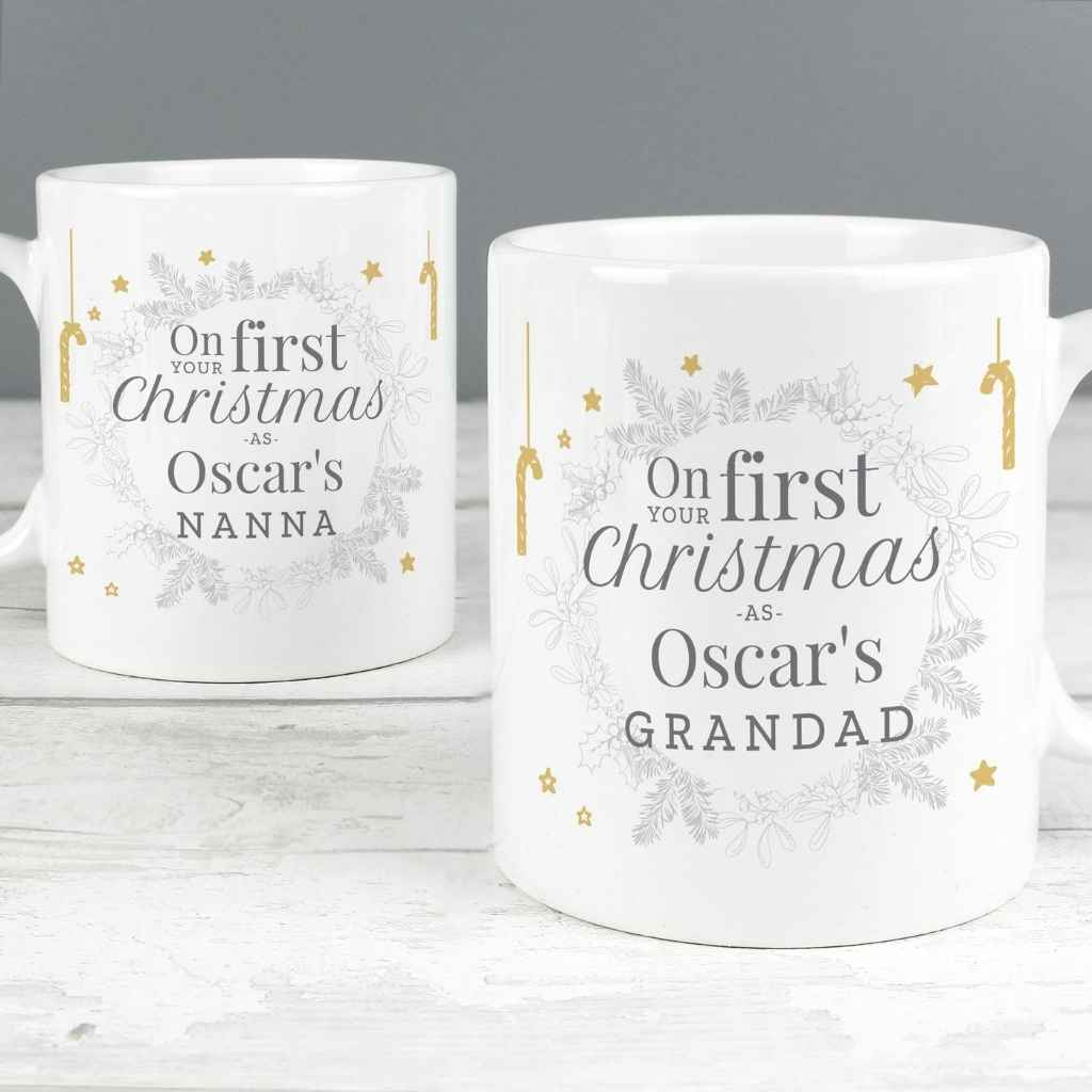 RD Christmas Personalised  Gifts  - 'On Your First Christmas As' Mug Set