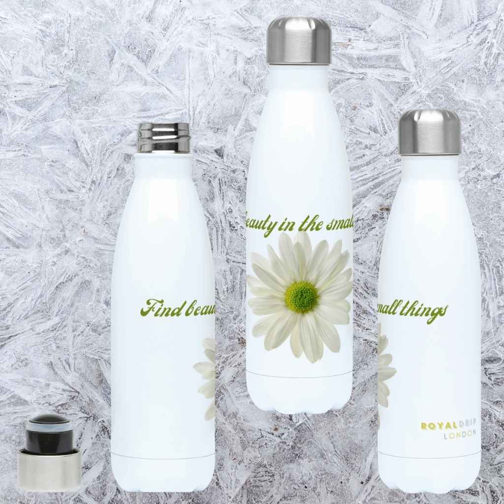 White Daisy Slogan Hydro Flask