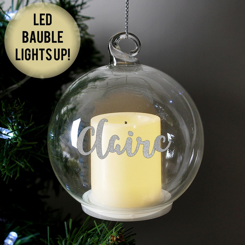 Personalised LED Candle Christmas Bauble