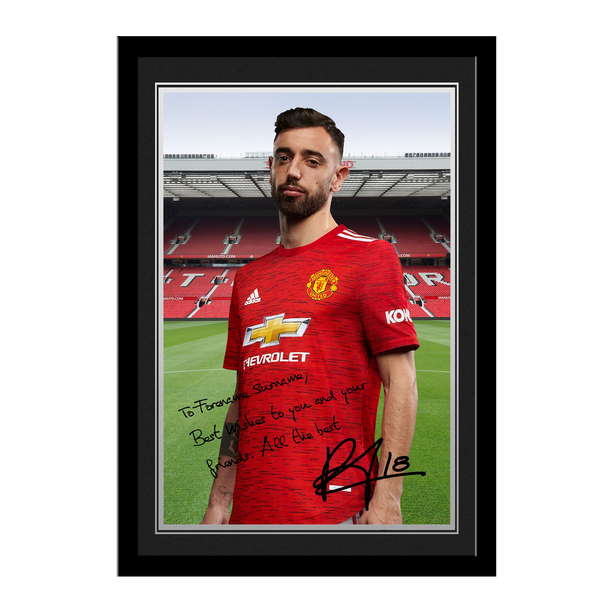 Manchester United FC Fernandes Autograph Photo Framed