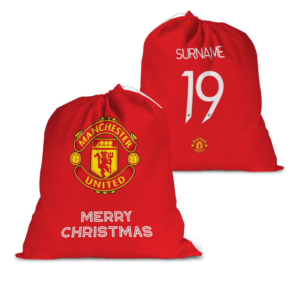 Manchester United FC Back of Shirt Santa Sack