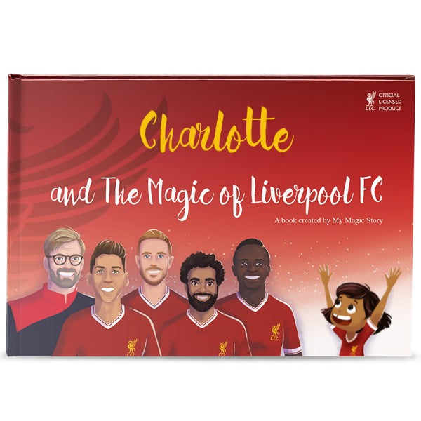 Personalisable hard cover Liverpool children book - Dark skin and hair girl