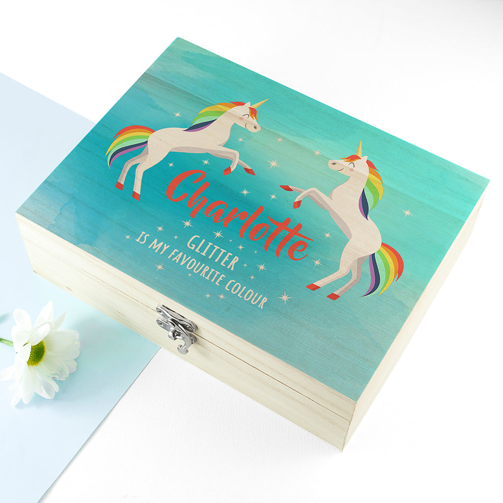 Personalised Rainbow Unicorn Accessories Box