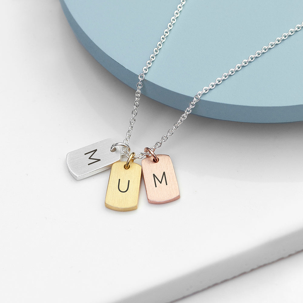 Personalised Mixed Metal Mini Tags Necklace.
