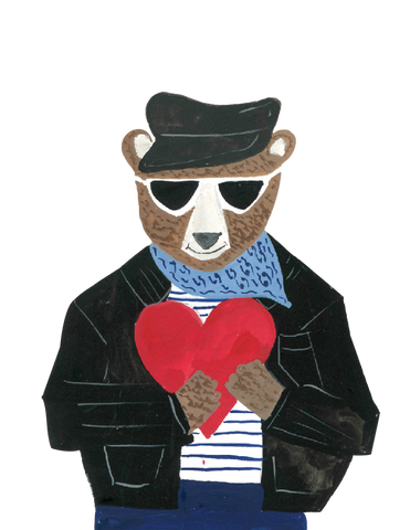 a bear holding a red heart