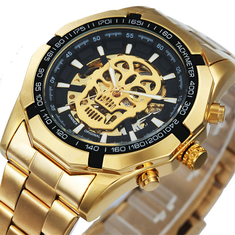 Mechanical Watch Skull Golden Stainless Steel Strap
