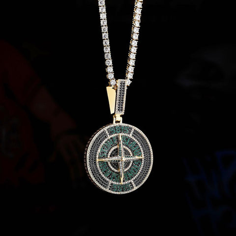 Cubic Zirconia Bling Iced Out Green Stone Round Pendant