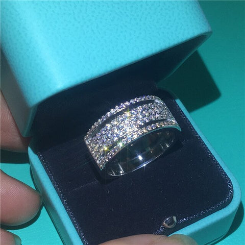 Sterling silver Five Layer Cubic Zirconia Ring