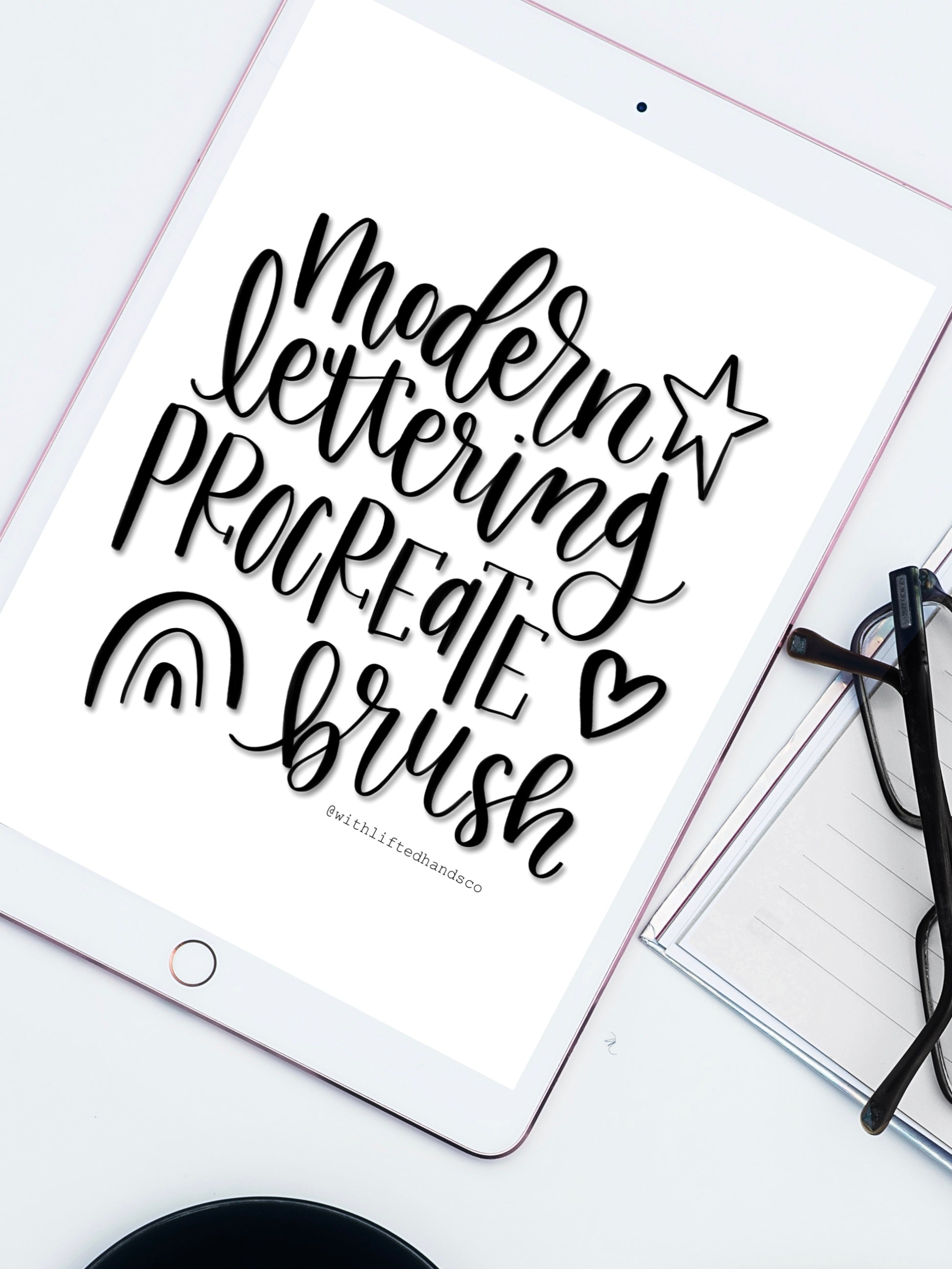 Modern lettering procreate brush by with lifted hands co