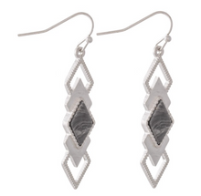 Load image into Gallery viewer, Semi Precious Diamond Tiered Drop Earrings