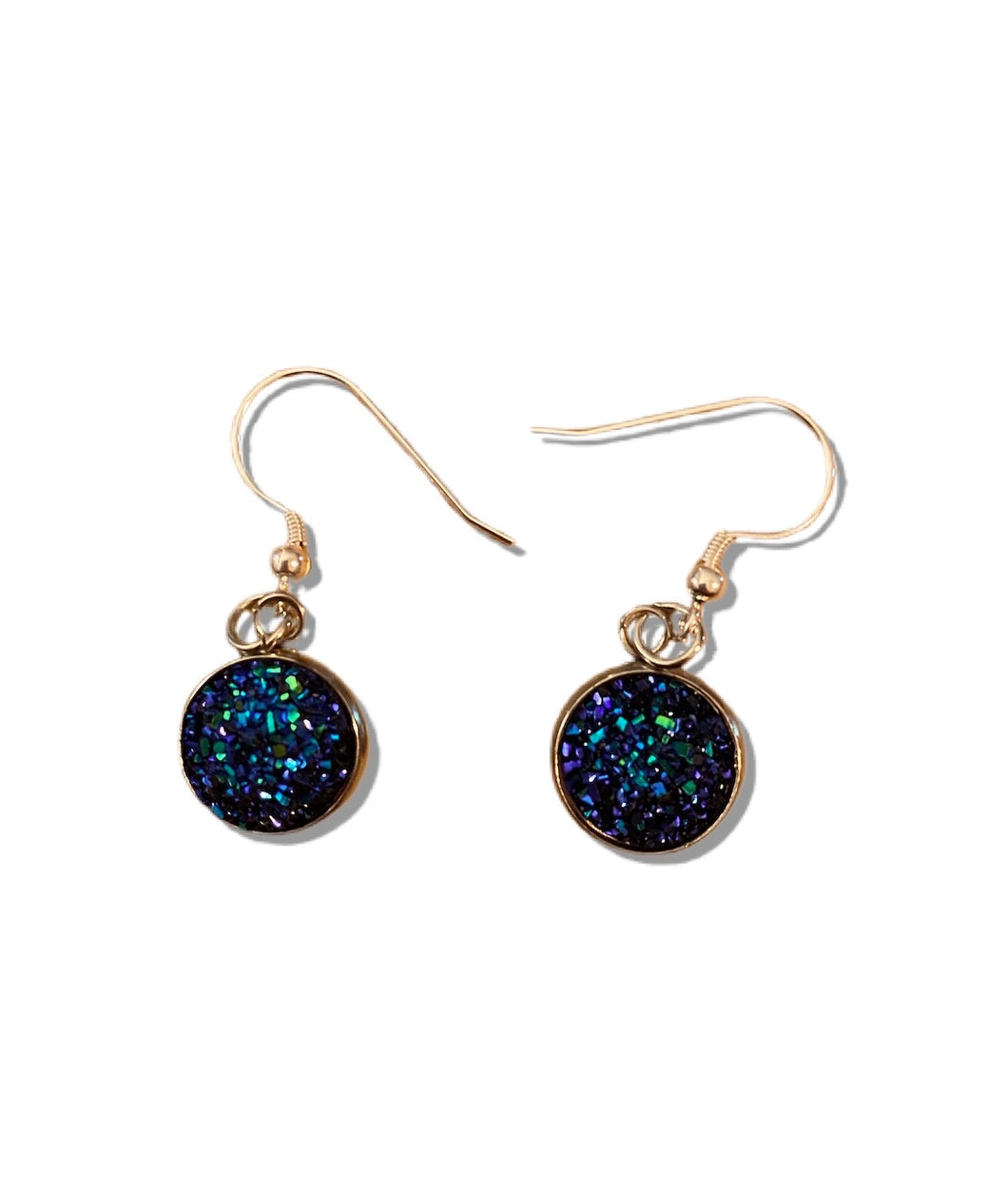 Druzy Drop Earrings - Dark Blue