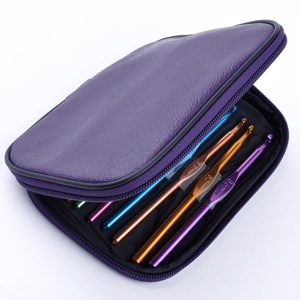 22pc Multi colour Stainless Crochet Hooks Yarn Knitting Needles Set with Case Top