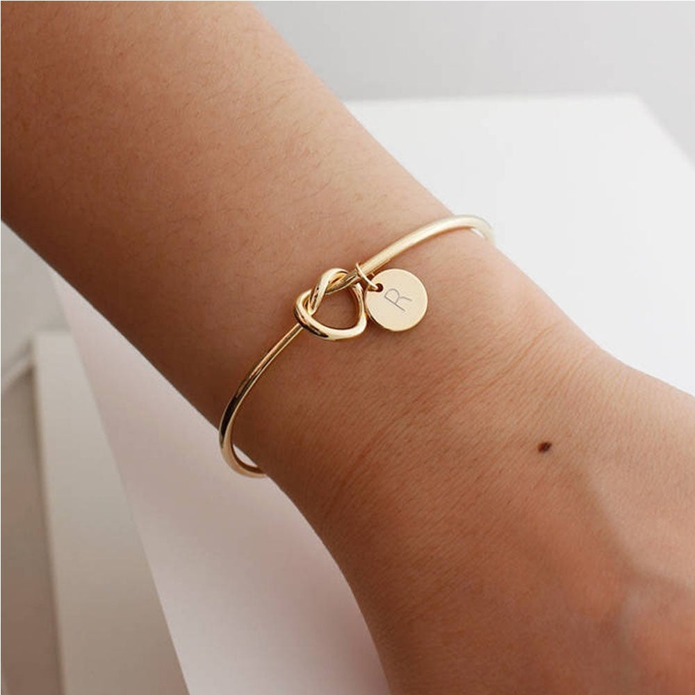 A-Z  Knot Bracelet with Letters Personalized Initial Heart Bracelet Monogram Bridesmaid Gift Bracelet Best Gifts