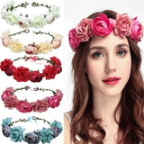 Bride Red Rose Artificial Flower Bridesmaid Headband Tourism Seaside Bride Wreath Wreath Headband Flower Hair Band Beach Headband