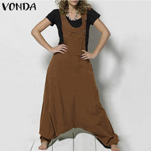 Load image into Gallery viewer, VONDA 5 Color Oversize Women Sexy Drop-Crotch Overalls Jumpsuit Casual Cotton Harem Pants