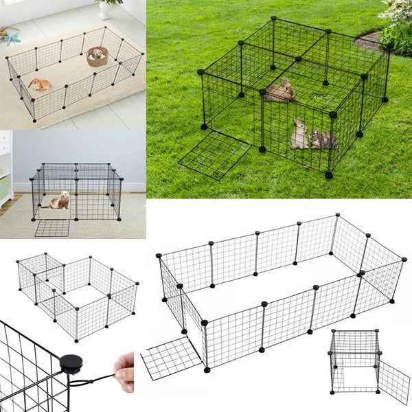 12 Panel Small Animal Playpen Enclosure Puppy Rabbit Run Cage Indoor Outdoor Pet Fence