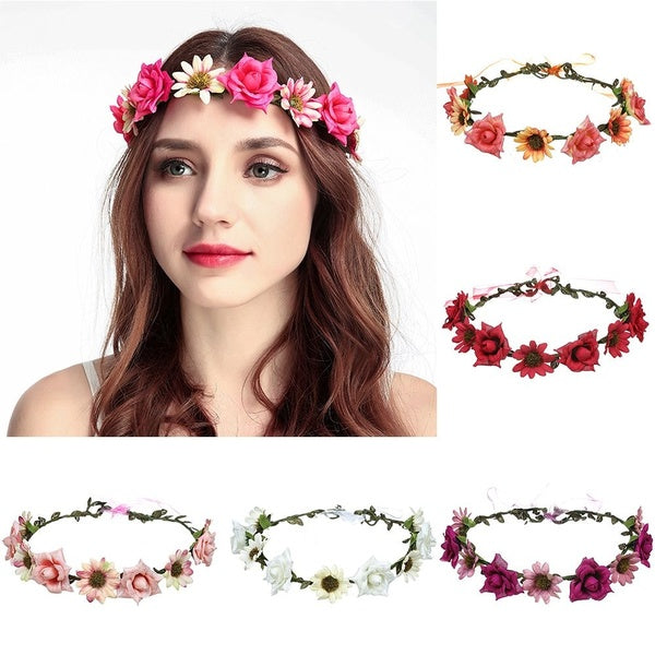 Beach Hair Band Beautiful Bride Wreath Red Rose Beach Headband Headband Artificial Flower Flower Headdress Bohemia Headwear Wreath Headband Flower Hair Band