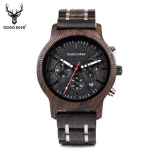Load image into Gallery viewer, DODO DEER Men Wooden Watch Wood and Stainless Steel Watches Luminous Hands Stop Watch Mens Quartz Wristwatches for Men Gifts