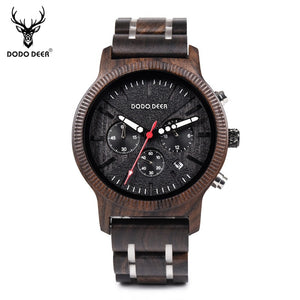 DODO DEER Men Wooden Watch Wood and Stainless Steel Watches Luminous Hands Stop Watch Mens Quartz Wristwatches for Men Gifts