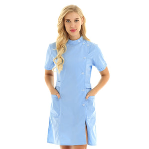 Womens Nurse Uniform Clothing Short Sleeve Button Front Lab Coat Nursing Dress