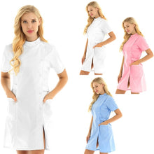 Load image into Gallery viewer, Womens Nurse Uniform Clothing Short Sleeve Button Front Lab Coat Nursing Dress