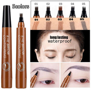 Four heads Fork Liquid Eyebrow Pencil Eyebrow Pen Women Girl Waterproof Long lasting Fork Tip Eyebrow Tattoo Pen Black Brow Pencil Eye Makeup cosmetics